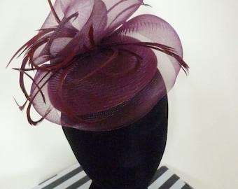 Ladies burgundy/claret wedding/races hat (other colours available)