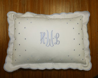 Blue Dot pillow with scalloped edge