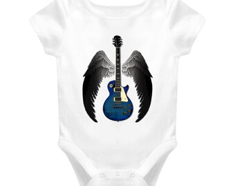 Winged Guitar - White Baby One Piece