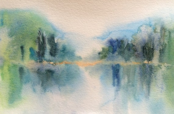 Abstract watercolor, Landscape watercolor, contemporary art, reflection, abstract art, abstraction, tree painting, Misty reflection