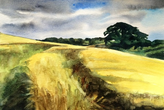 Wheat field, Countryside, landscape art, landscape watercolor, wheat, English landscape, English watercolor,English countryside, England