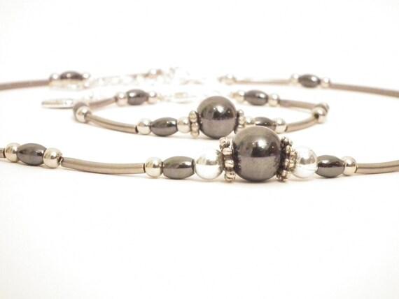 Hematite jewelry set, hematite tube bracelet and necklace, bloodstone jewelry set, christmas gift
