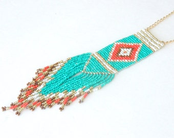 Beaded necklace, Tribal necklace, Long necklace, Turquoise color necklace, Boho necklace, Fringe necklace