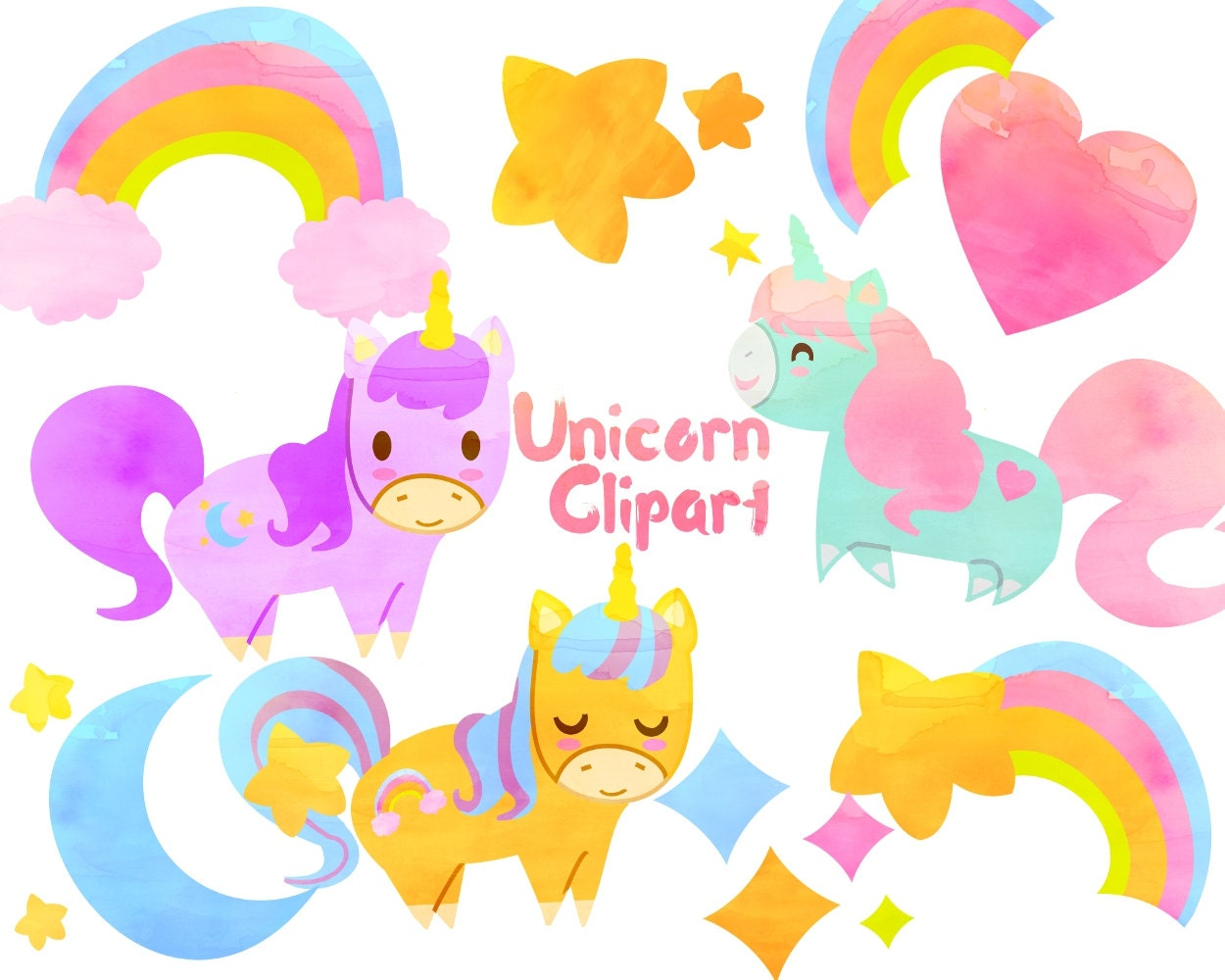 Cute Unicorn clipart, Unicorn clip art, Watercolor clipart for personal and commercial use ...