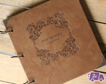 Our Memory - Engraved Expandable PU Leather Scrapbook DIY Photo Album for Weddings, Engagement, Anniversary