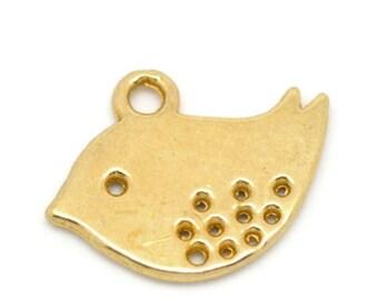 50 Gold Plated Bird Charm Pendants 16x13mm