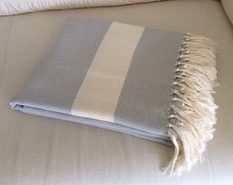 Gray cotton blanket in Herringbone pattern. Perfect as a bedspread, blanket, throw or sofa cover.