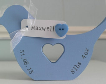Personalised wooden bird with heart centre