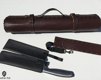Leather Knife Roll - Dark Brown