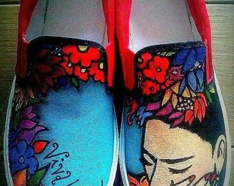 Original Frida Kahlo's Hand Painted Canvas Shoes
