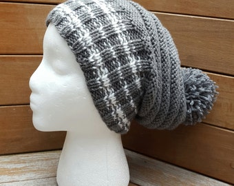 Gray hat / Slouchy Hat / Gray Beanie / Gray slouchy hat / Gray slouch / Pom pom hat / Slouchy beanie / Gray knit beanie / Winter hat