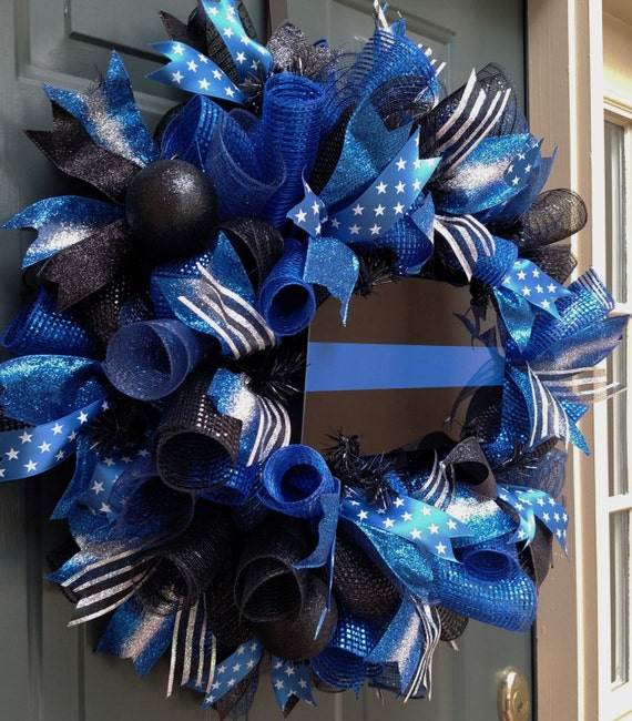 Thin Blue Line Wreath Police Wreath Front Door Wreath Law