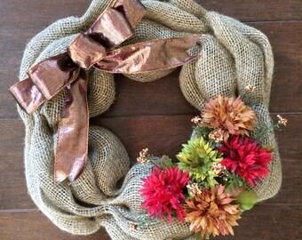 Small Fall Burlap Wreath - Mini Fall Wreath - Mums Decor - Window Wreath - Autumn Wreath