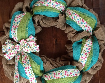 Spring Burlap Wreath - Burlap Wreath - Spring Wreath - Front Door Wreath for Spring - Easter Wreath