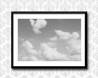 Paris Clouds No. 551, Black and white cloudscape photograph, cloud photography, sky wall art, Sky photography