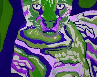 Ocolet Gouache Painting, Ocolet Wall Art, Ocolet Modern Painting, Feline Painting, Multicolor Ocolet Gouache Painting