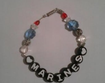 Handmade Red Clear & Blue Marines Beaded Bracelet