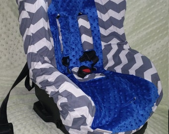 Chevron Carseat Cover, Gray Chevron with Royal Blue, Pink Chevron Carseat cover, Royal Blue Carseat, Blue Carseat, Bright Blue Carseat Cover