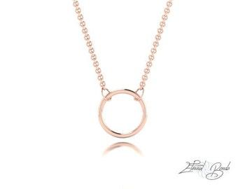 Solid 14k Rose Gold Hoop Necklace, 14k Rose Gold Circle Necklace, 14k Rose Gold Ring Necklace, Gold Halo Necklace, Gold Necklace, 10mm