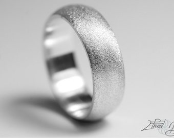 18k Solid White Gold Wedding Band, Matte Wedding Band, Brushed Wedding Band, 6mm, Matte Finish Half Round Band