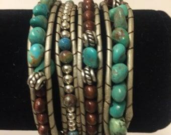 Turquoise & Brown Bead Wrap Bracelet