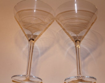 Swirl Etched Martini Glasses Set of 2