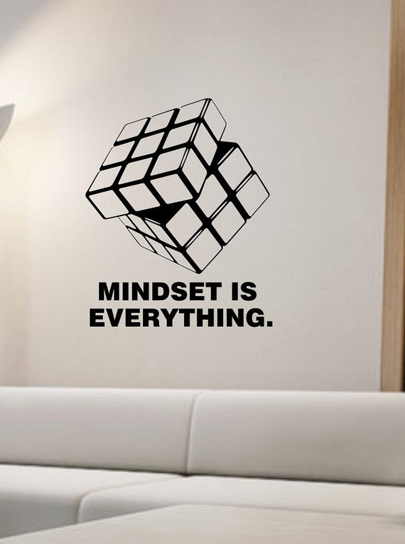 items similar to rubik 39 s cube wall decal mindset is. Black Bedroom Furniture Sets. Home Design Ideas