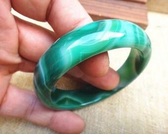 57.7mm Natural green agate bracelet (inner diameter 57.7 mm)