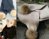 Luxury Fur Pom Pom Winter Scarf Black Beige Cream Handmade Large Long Winter Autumn Ski Raccoon Knit Wool Ribbed AW15 Fur Ball UK SELLER
