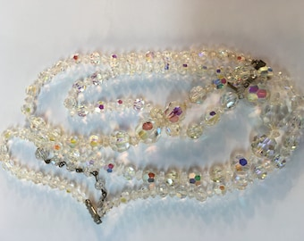 Costume jewelry vintage multi strand crystal necklace hook closure