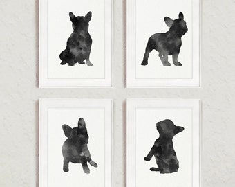 French Bulldog Silhouette Set of 4 Art Print, Black and White Dogs Illustration, Gray Dog Drawing, Charcoal Frenchie Baby Room Decor