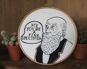 Charles Darwin Valentines, Embroidery Science Embroidery, Geek, Science Art, Valentine's Day, Geek love, Hand Embroidery, Science Idols,