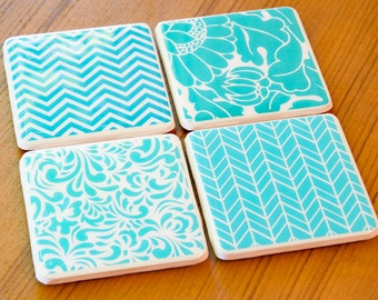 Custom Coasters Blue Coasters Ready To Ship Chevron Coasters Cute Coasters Tile Coasters Ceramic Coasters Drink Coasters Mothers Day Gift