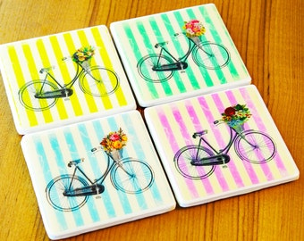 Vintage Coasters Bicycle Art Ready To Ship Cute Coasters Floral Print Tile Coasters Resin Mold Photo Coasters Gifts For Her Gifts Under 30 H