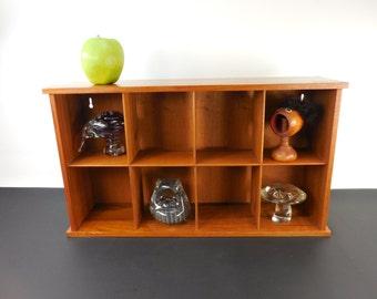 Teak Wood Divided Wall Shelf - CD Knick Knack Display - Danish Modern Style