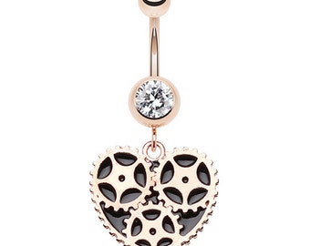Rose Gold Steam Punk Heart Belly Button Navel Ring