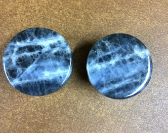 23mm sodalite plugs round stretched ears modified lobes 24mm flare