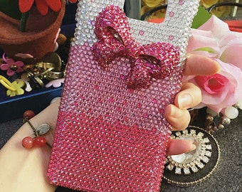 Bling Lovely Bow Girly Pink Gradient Gems Sparkly Chic Crystals Rhinestones Diamonds Fashion New Hard Cover Case for Various Mobile Phones