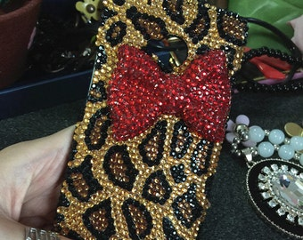Bling Sparkles Cheetah Print Colorized Gems Charms Red 3D Bow Crystals Rhinestones Diamonds Fashion Lovely Hard Cover Case for Mobile Phone
