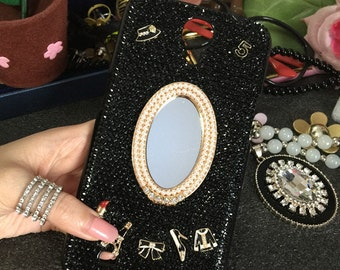 Bling Lovely Girly Mirror Eiffel Tower Bow Lips Shoes Black Gems Fashion Sparkles Crystals Rhinestones Diamonds Hard Case for Mobile Phone