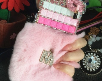 Bling Letter M Lovely Pink Soft Fluffy Fur Furry Sparkles Lips Crystals Rhinestones Diamonds Gems Fashion Hard Cover Case for Mobile Phones