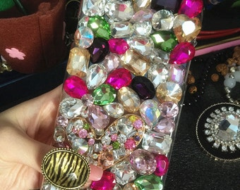 Colorized Bling Luxury Lovely Fashion Sparkles Charms Glossy Jewelled Crystals Rhinestones Diamonds Gems Hard Cover Case for Mobile Phone