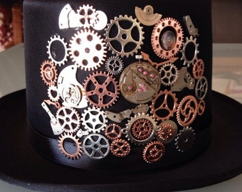 Rose gold Steampunk top hat