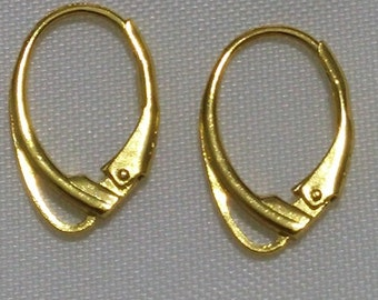 Vermeil Lever Back Earring Wires,14K Gold Over .925 Sterling Silver- 2/4/6/8/10 Pcs