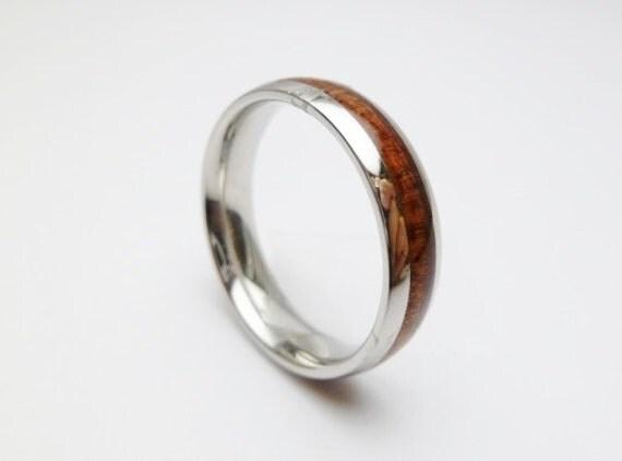 6mm koa wood stainless steel ring thin band by styleseason