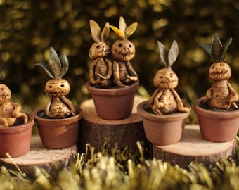 Halloween. Miniature Mandrake root. Dollhouse witches .