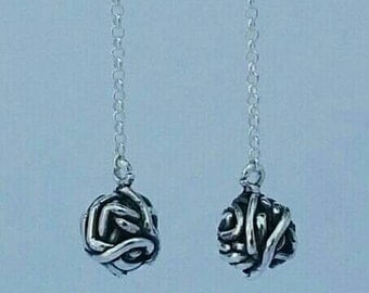 Sterling silver dropping knotted balls earrings, 925 jewellery,  Christmas