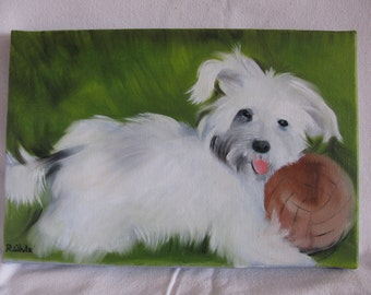 A lovely original oil painting of an adorable puppy