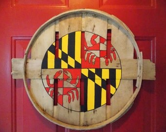 Maryland flag center circle w/ exposed natural wood Crab Greek Cross. Hand painted on recycled crab bushel lid.