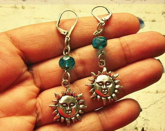 Sun Earrings, Sun Jewelry, Sun Gift, Sun Accessories, Sun Gifts, Beach Themed Earrings, Beach Themed Jewelry, Sun Themed Earrings
